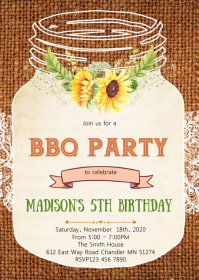 Sunflower nason jar party theme invitation