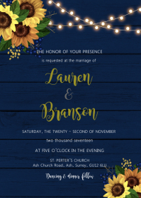 Sunflower navy theme invitation A6 template