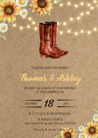 Sunflower rustic country boot them invitation A6 template