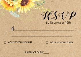 Sunflower wedding RSVP card