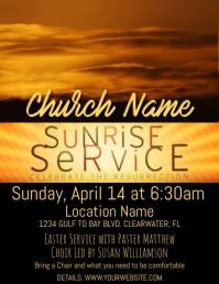 Sunrise Easter Service Video Pamflet (Letter AS) template