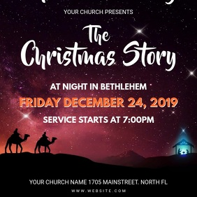 Sunset Christmas Church Service Invitation