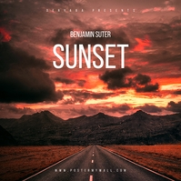 Sunset Clouds Sky Music Mixtape CD Cover Albumcover template