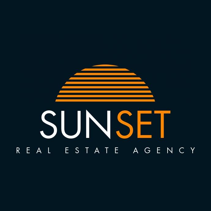 sunset real estate logo template