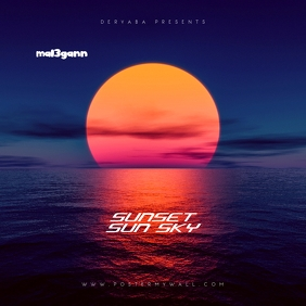 Sunset Retro 80's CD Cover Art Template
