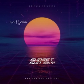 Sunset Retro 80's Video CD Cover Art Template