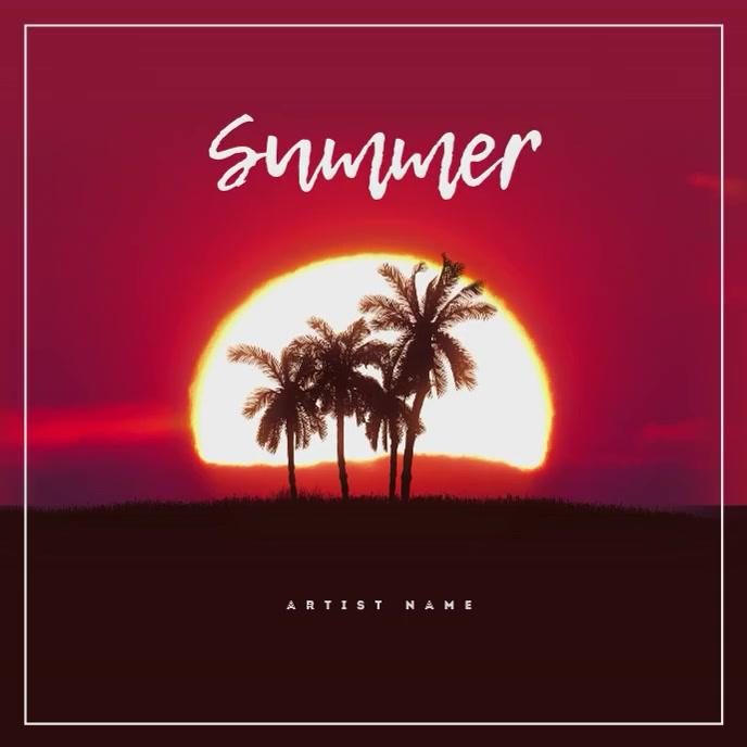 Sunset Summer Music Album Cover Template