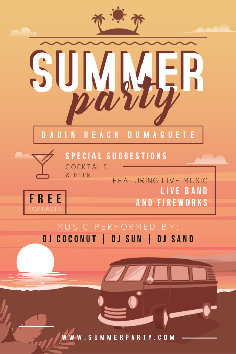 Sunset Summer Party Typography Flyer