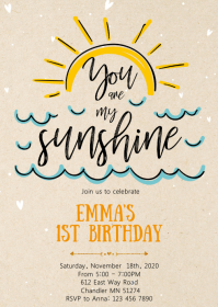 Sunshine 1st birthday party invitation