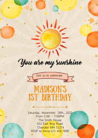 Sunshine birthday party invitation