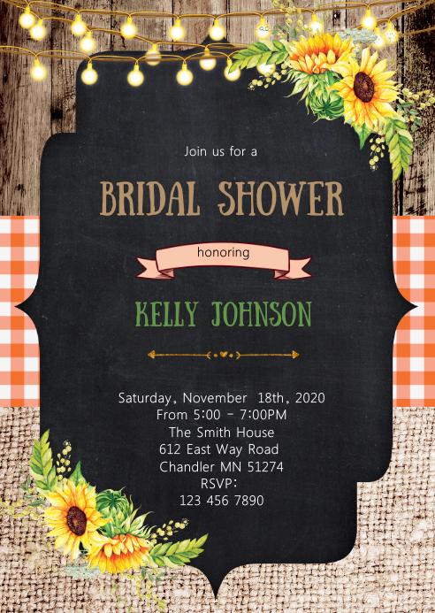 Sunshine bridal shower invitation A6 template