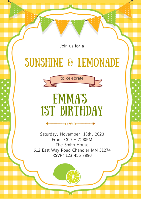 Sunshine lemonade birthday party invitation A6 template