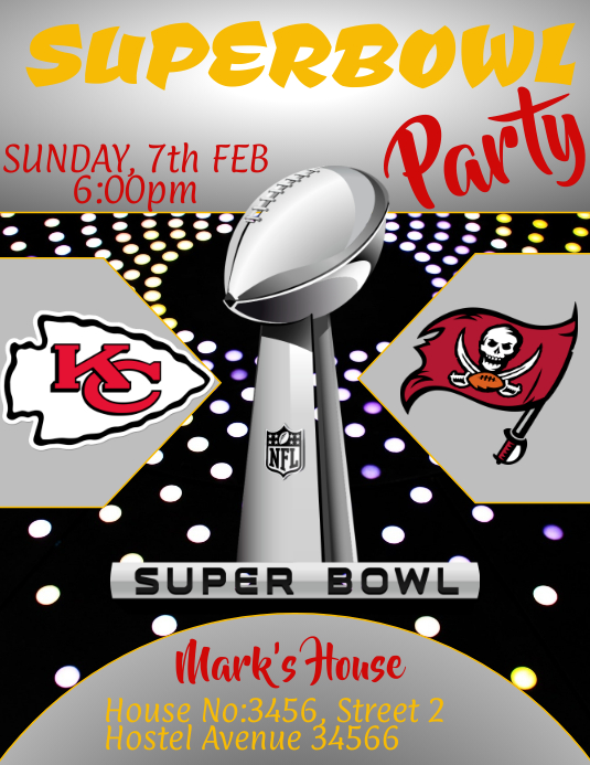 Super Bowl, Party Flyer (US Letter) template