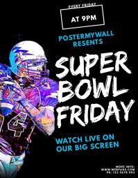 Super Bowl Football Flyer Live bar template