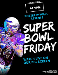 Super Bowl Football Flyer Live bar template