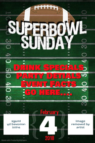 Super Bowl Football Game Schedule Event Flyer Poster