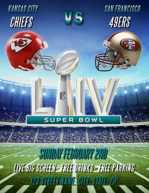 SUPER BOWL LIV 2020 PARTY FLYER TEMPLATE