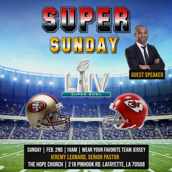 SUPER BOWL LIV SUPER SUNDAY CHURCH FLYER Capa de álbum template