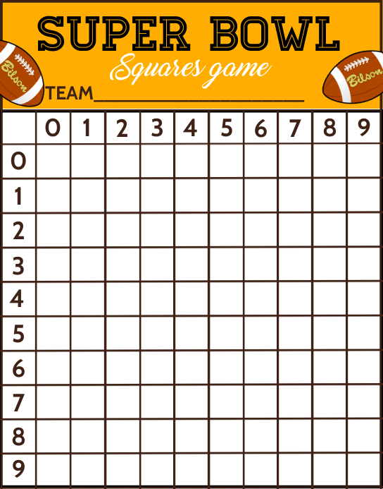 Super Bowl Squares Game Template Poster/Wallboard