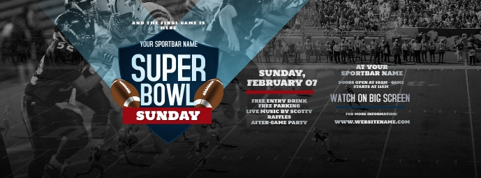 Super Bowl Sunday Facebook Cover Photo Facebook-coverfoto template