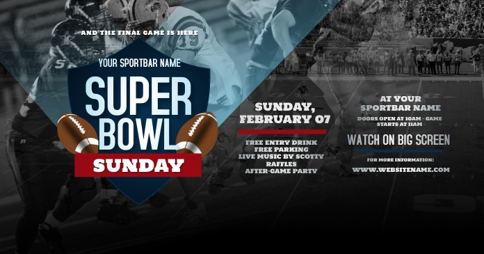 Super Bowl Sunday Facebook Shared Image template