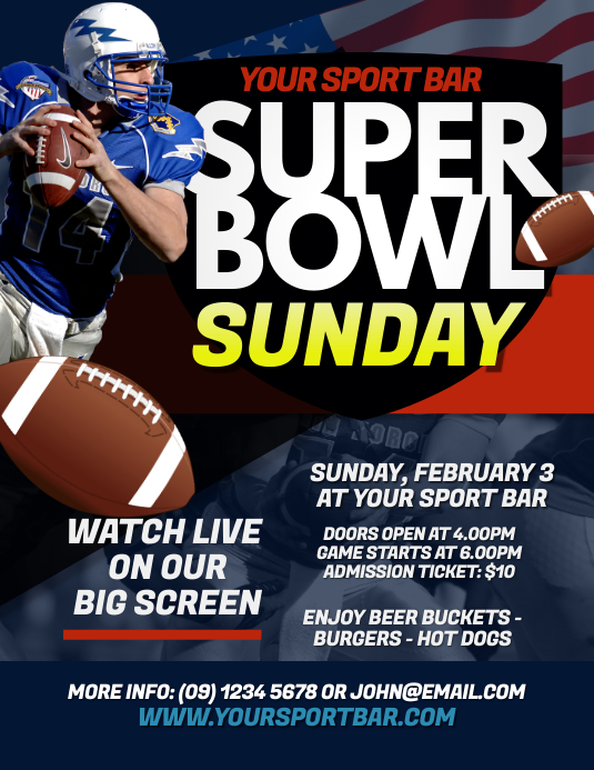 Super Bowl Sunday Flyer Template