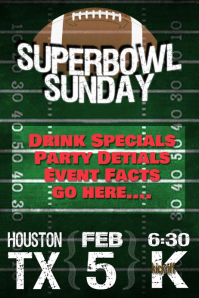 Super Bowl Sunday Football Event Flyer Bar Party Poster