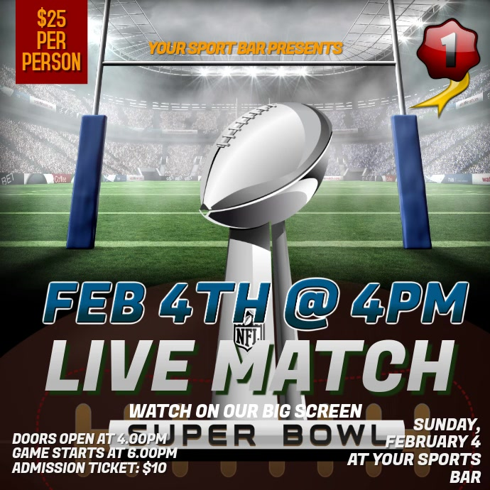 Super Bowl Watch Party Instagram Video Template Instagram-bericht