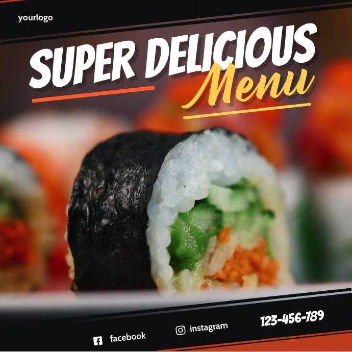 Super Delicious Menu Instagram Banner Instagram-opslag template
