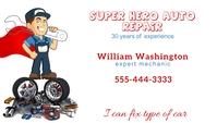 Super Hero Auto Repair Business Card Visitekaartje template