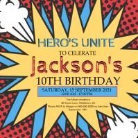 SUPER HERO BIRTHDAY PARTY TEMPLATE Publicación de Instagram