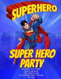 SUPER HERO PARTY TEMPLATE Volantino (US Letter)