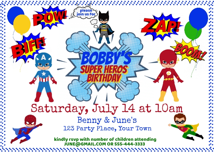 Super Heros Birthday Invitation Briefkaart template