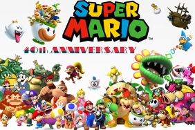 Super Mario 40th Anniversary Party Theme NES Poster template