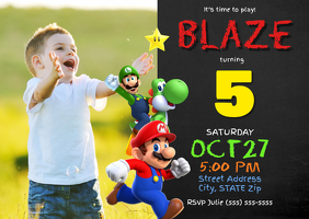 Super Mario Birthday Invitation A6 template