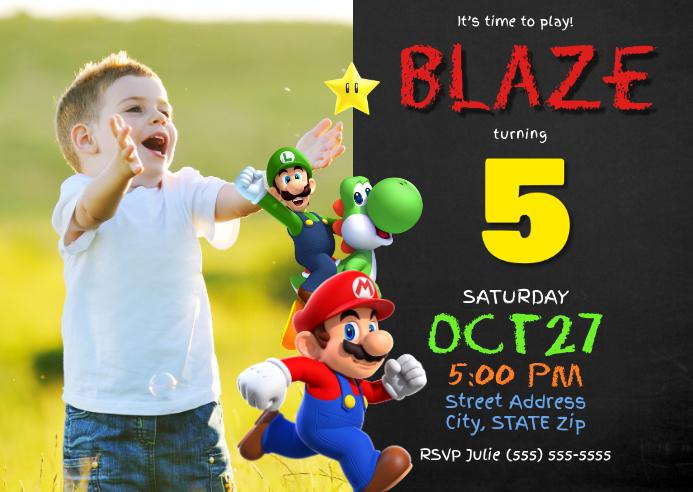 Super Mario Birthday Invitation A6 template