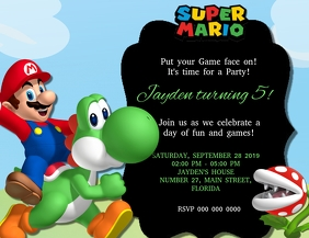 Super Mario Birthday Party Invitation Templat