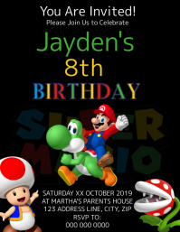 Super Mario Kids Birthday Invitation Template