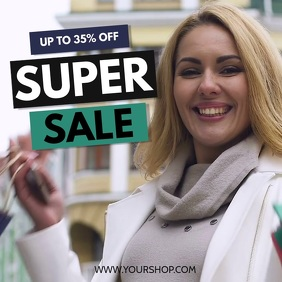 Super Sale Big advert promo shopping bags woman retail store