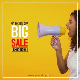 Super Sale Big sell-out advert promo now shopping megaphone