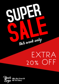 Super Sale Flyer Poster Big sell-out season sale shopping ad