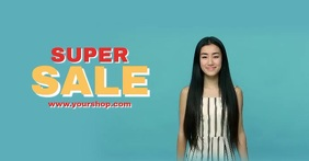 Super Sale Shopping Banner Screaming Woman Of Anúncio do Facebook template