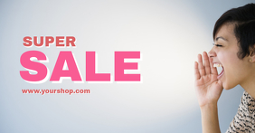 Super Sale Shopping Banner Screaming Woman Offer Advert Anuncio de Facebook template