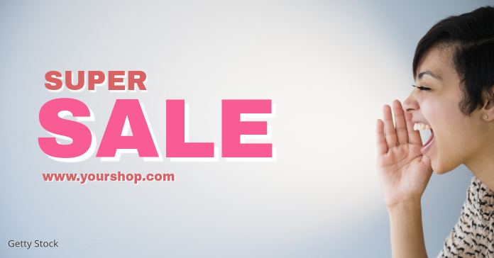 Super Sale Shopping Banner Screaming Woman Offer Advert Annuncio Facebook template