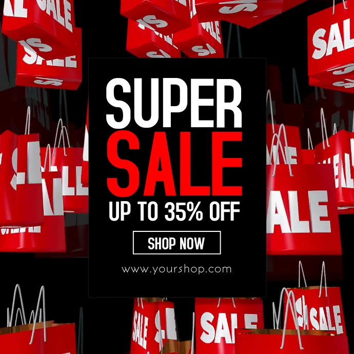 Super Sale Video Big Sell Out Fly Shopping Bags Advert Promo Template Postermywall