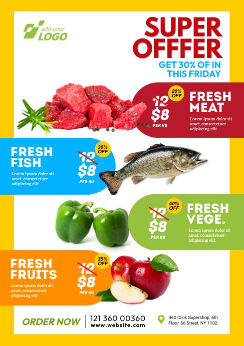 Super-shop Product Promotion Flyer A4 template