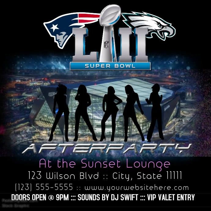 superbowl afterparty instagram flyer interactive template