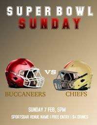 Superbowl party Pamflet (Letter AS) template