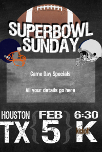 Superbowl Sunday Football Party Poster Flyer Invitation