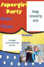 Supergirl superhero Party Invitation Poster Flyer Event